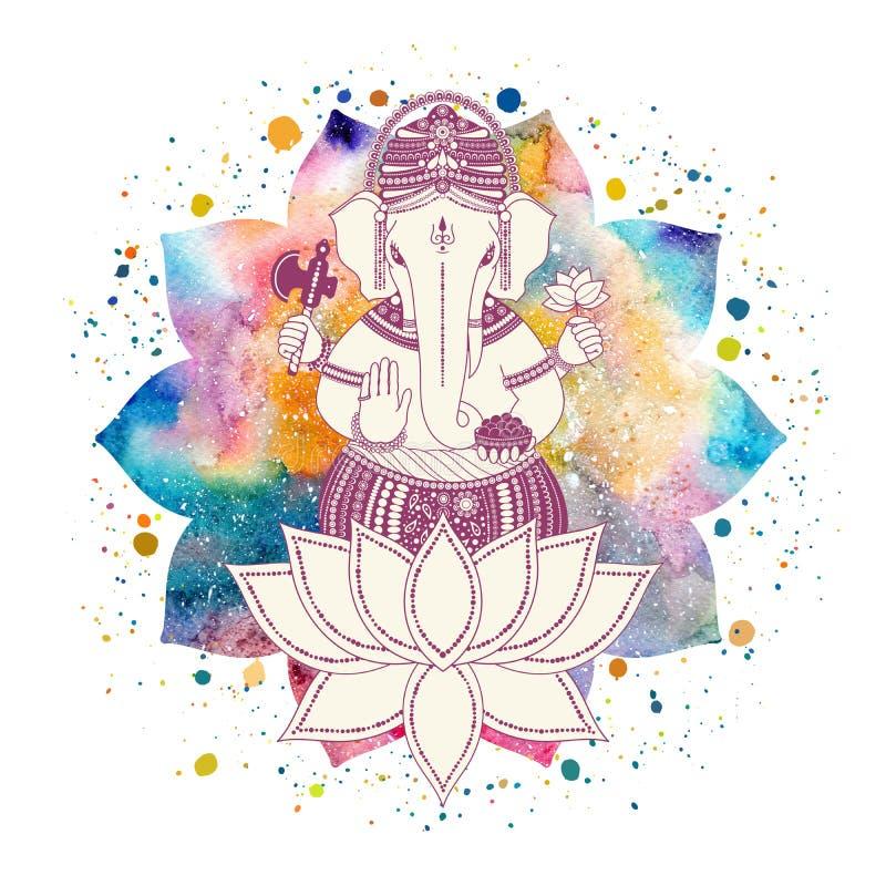 Ganesha bóg i lotosowy kwiat royalty ilustracja