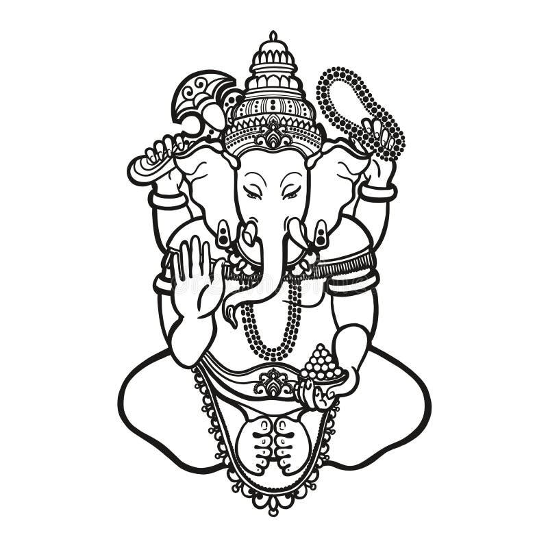 ganesha Bóg mądrość i dobrobyt w hinduizmu liniowy styl ilustracji