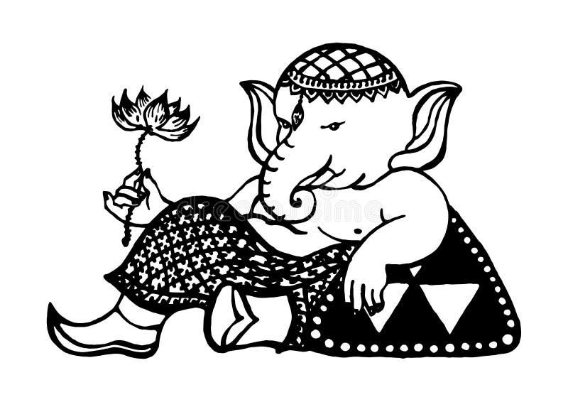 Ganesha bóg sukces i sztuka, słonia rysunek, wektorowa ręka rysująca royalty ilustracja