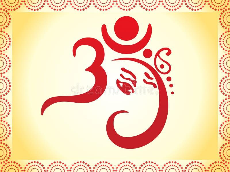 Ganesha a basé le descripteur artistique des textes de l'OM illustration stock