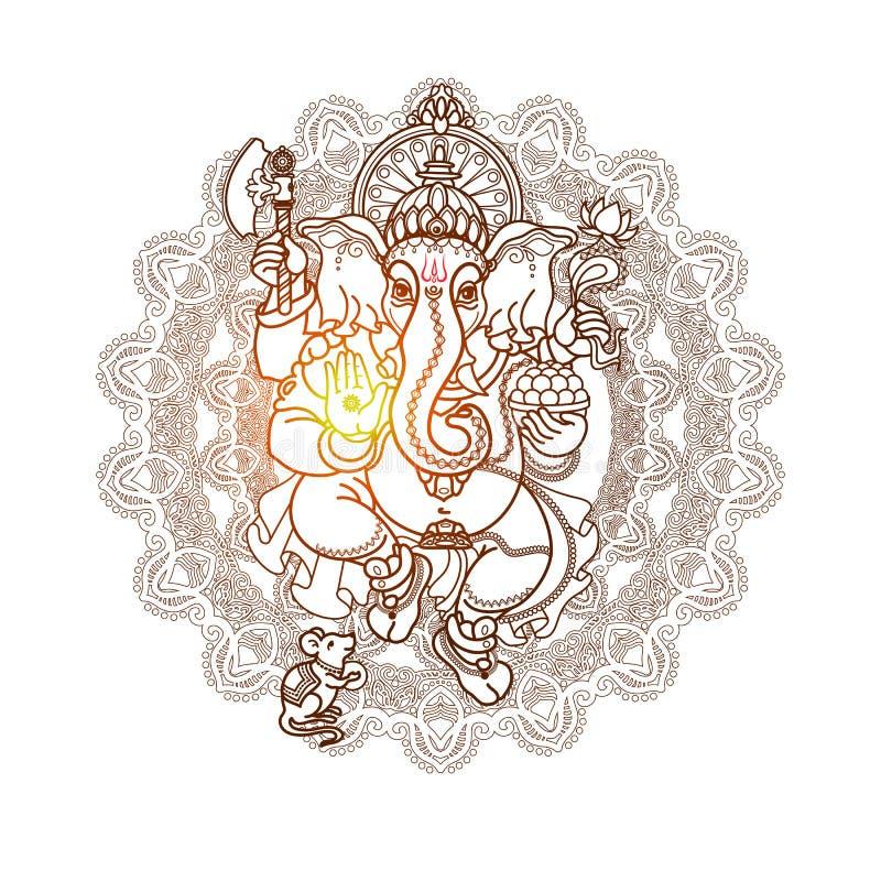 Ganesha de la piedra Estilo tribal dibujado mano Vector ilustración del vector
