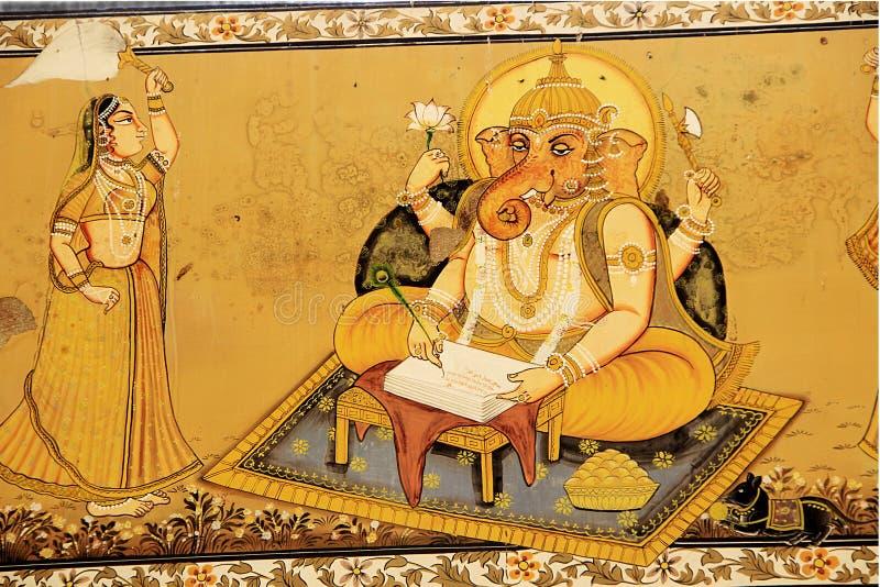 Ganesha die Epische Mahabharat schrijven royalty-vrije stock afbeelding
