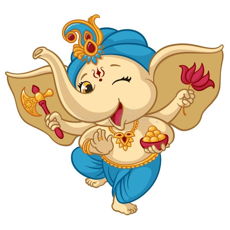 Ganesha elephant cartoon baby vector illustration for traditional Ganesha Chaturthi Indian Hindu holiday greeting card stock illustration