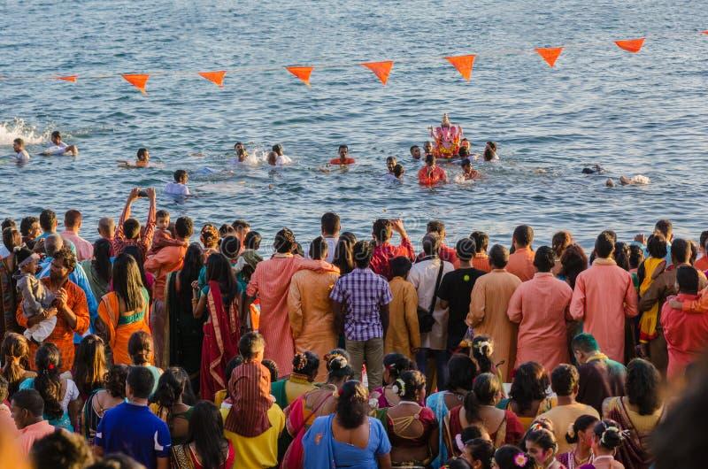 Ganesha-Feiern in Baie du Cap, Mauritius stockbild