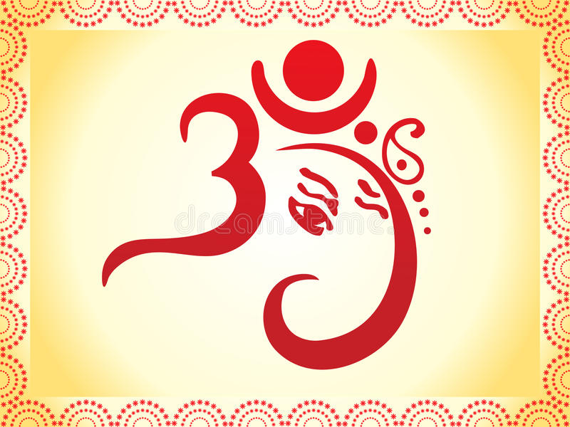 Ganesha gründete künstlerische Schablone des OM-Textes stock abbildung