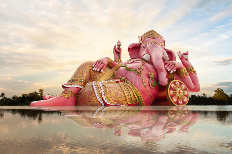 Ganesha, Hindu God. And sky with reflect in river royalty free stock images