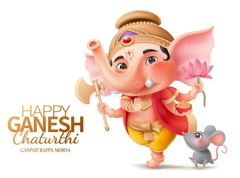 Ganesha i mushika ilustracja wektor