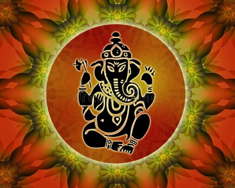 Ganesha joga mandala royalty ilustracja