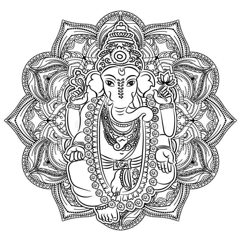 Ganesha kolorystyki książka dla dorosłych royalty ilustracja