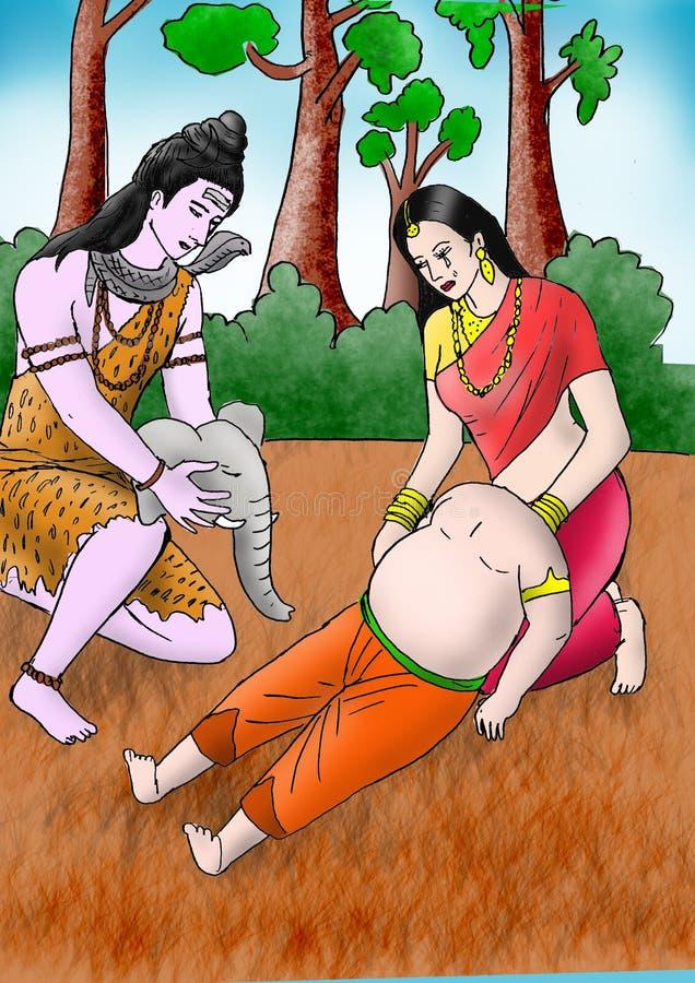 Ganesha krijgt zijn olifantshoofd royalty-vrije stock foto