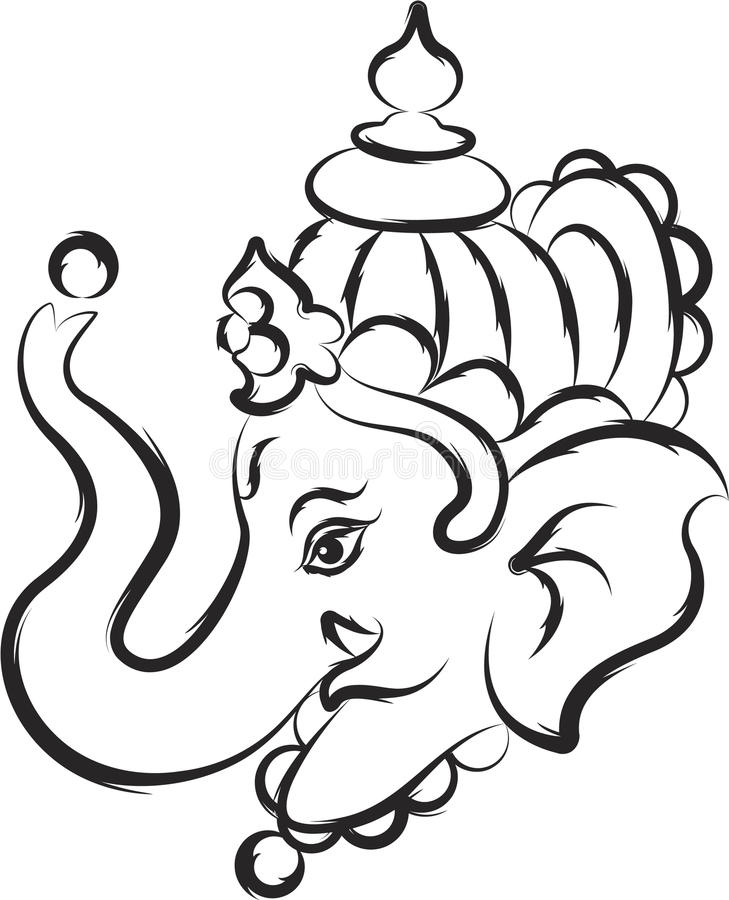 Ganesh Line Drawing : Ganesha the lord of wisdom stock vector image