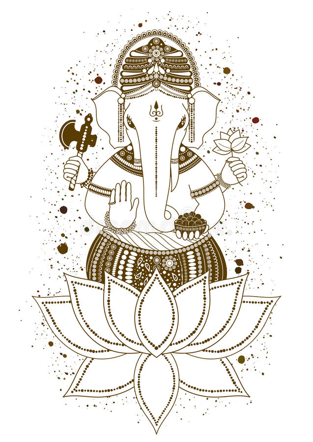 Ganesha mehndi wektor ilustracja wektor