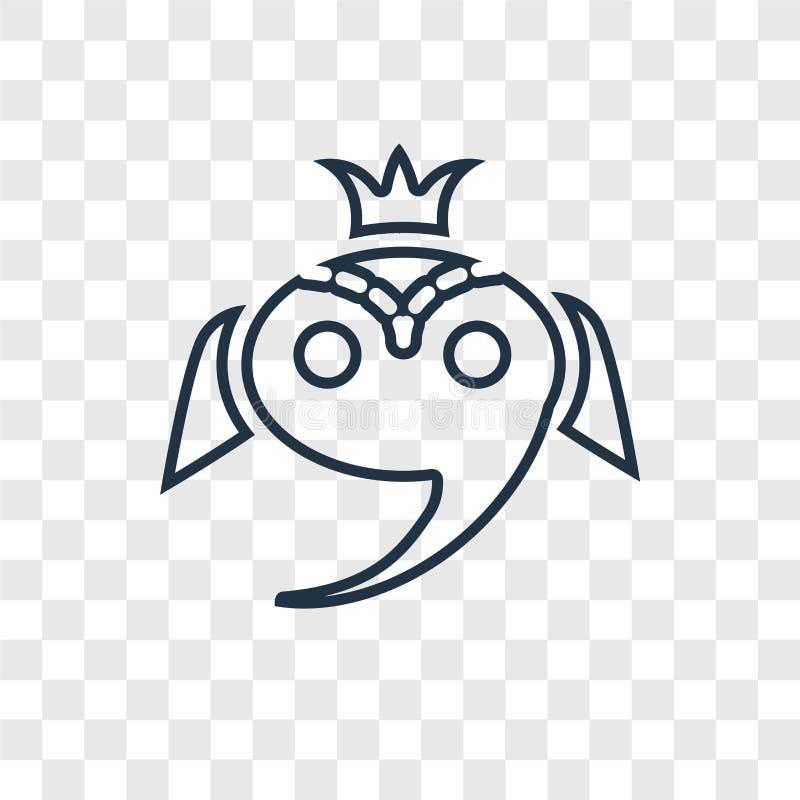 Ganesha pojęcia wektorowa liniowa ikona odizolowywająca na przejrzystym backg ilustracja wektor