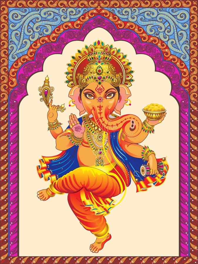 Ganesha sur les voûtes ornementées de fond par modèle illustration libre de droits