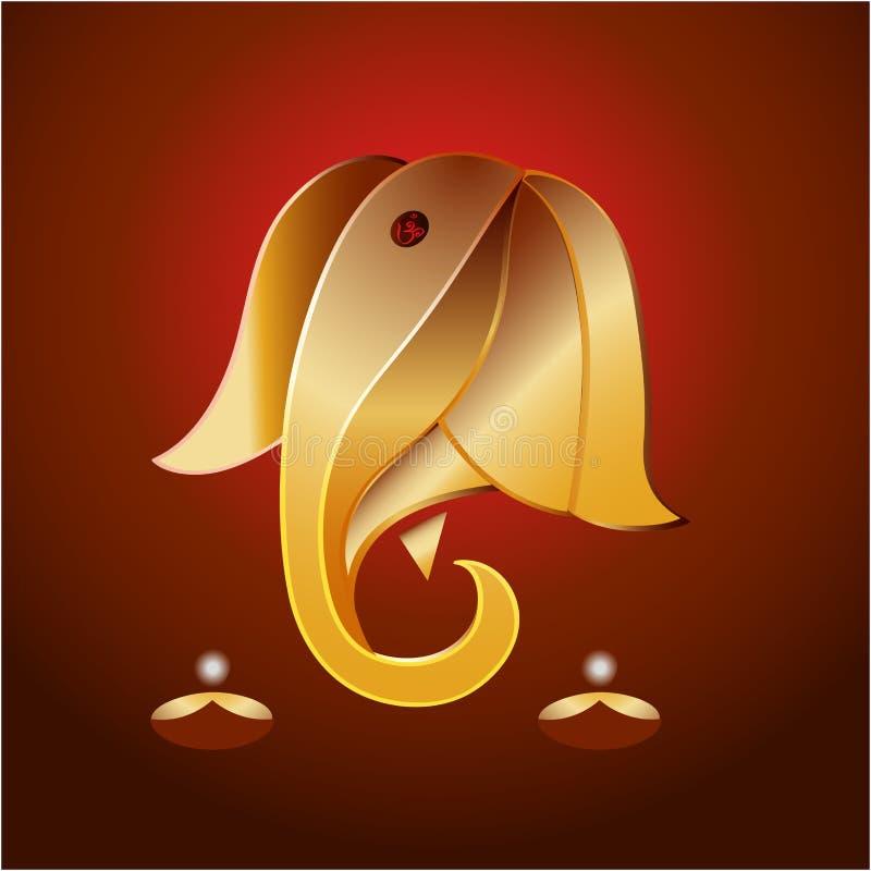 Ganesha w złocie royalty ilustracja