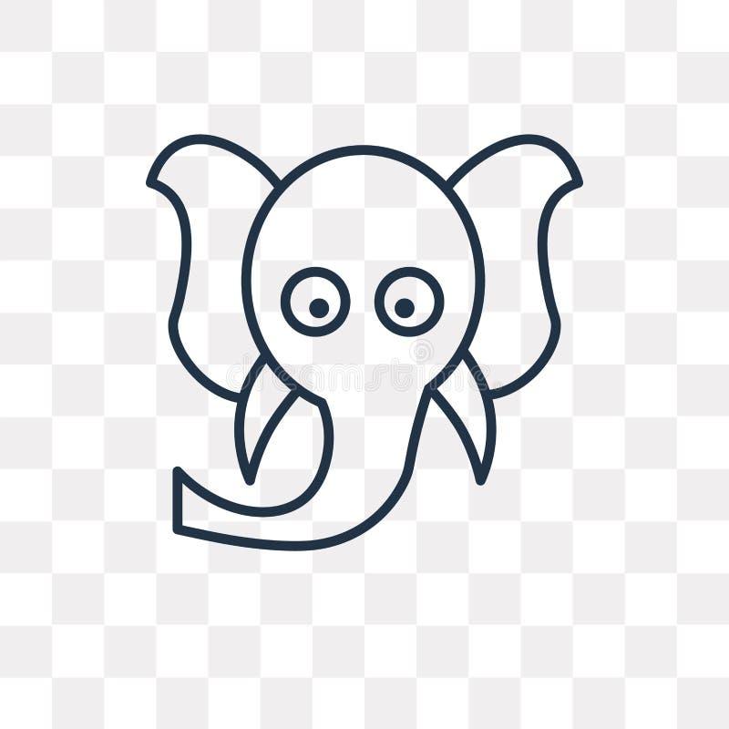 Ganesha wektorowa ikona na przejrzystym tle, liniowy G royalty ilustracja