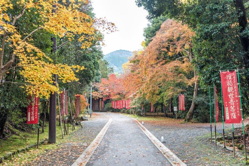 Gang aan Daigoji-Tempel met esdoornbomen naast in een de herfstseizoen Kyoto, Japan royalty-vrije stock afbeelding