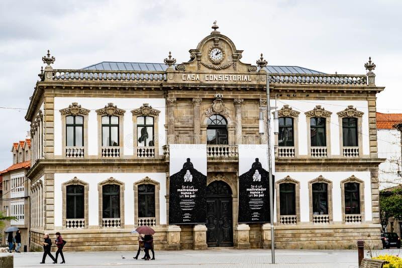 Gang door de straten van de stad van Pontevedra in Galicië, Spanje royalty-vrije stock afbeeldingen