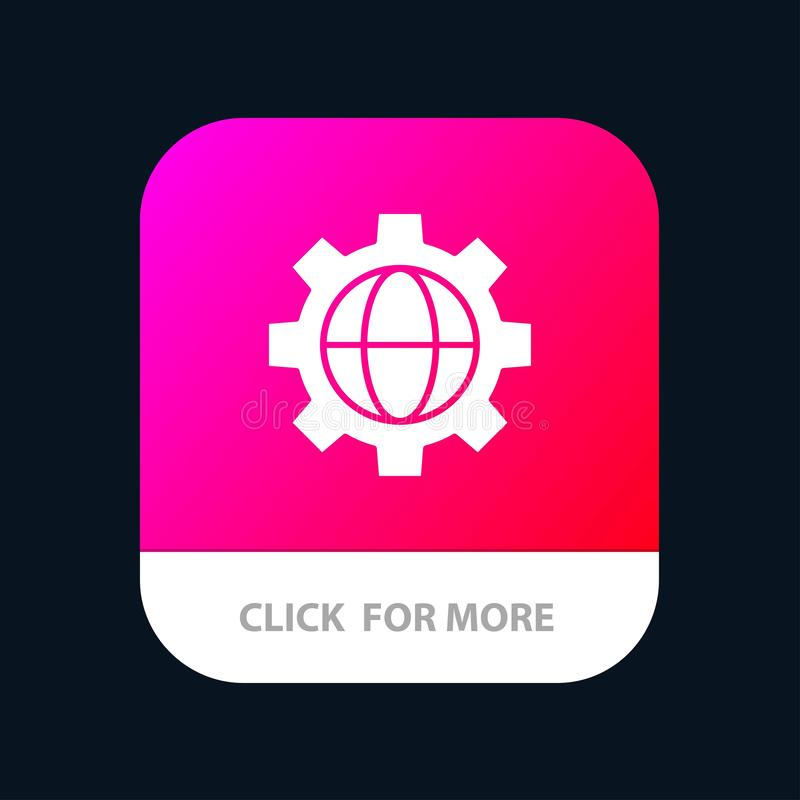 Gang, Einstellung, Kugel mobiler App-Knopf Android und IOS-Glyph-Version stock abbildung