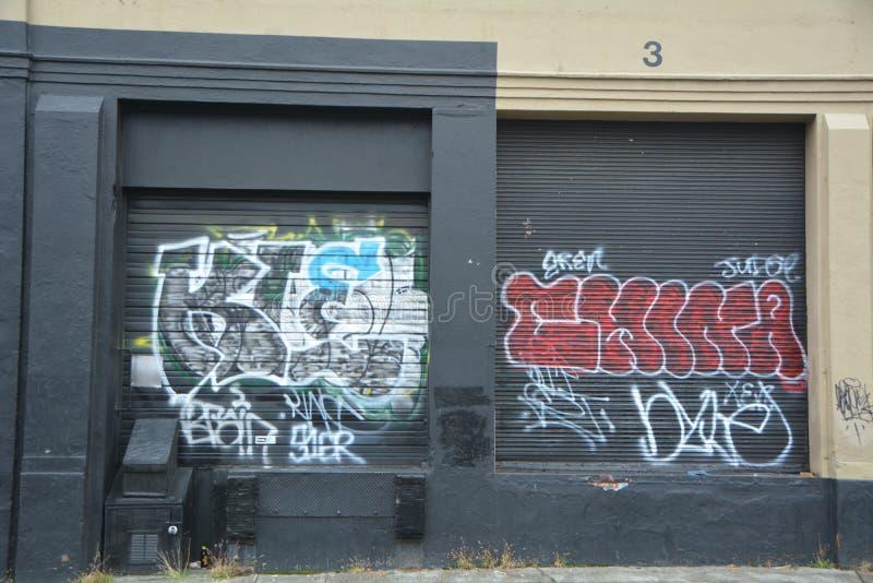 Gang graffiti on a wall in Portland, Oregon. This is gang graffiti on a building wall in Portland, Oregon stock photo