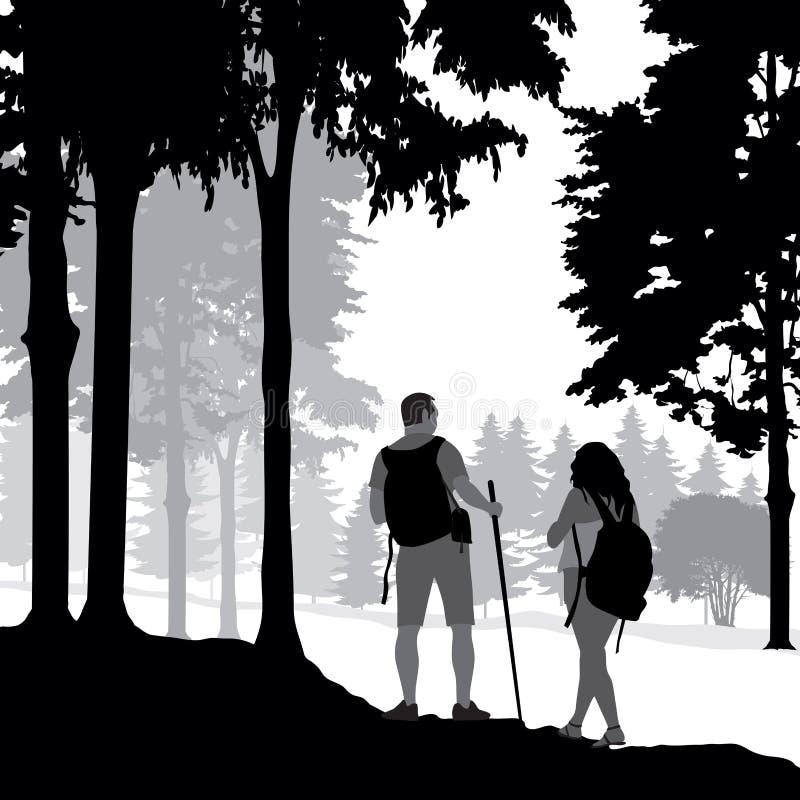 Gang in het bos vector illustratie