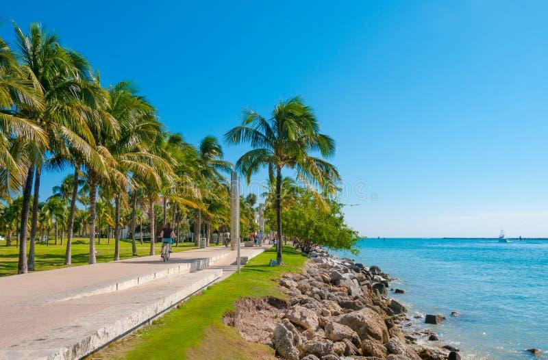 Gang in het mooie parkzuiden Pointe in het Strand van Miami, Flo royalty-vrije stock foto