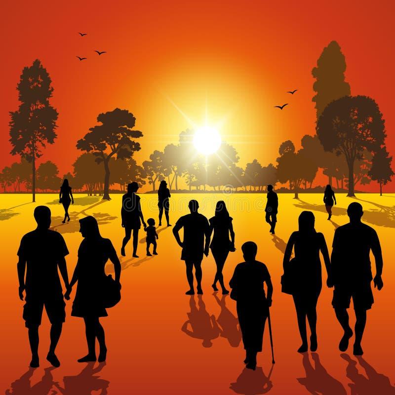Gang in het park bij zonsondergang royalty-vrije illustratie