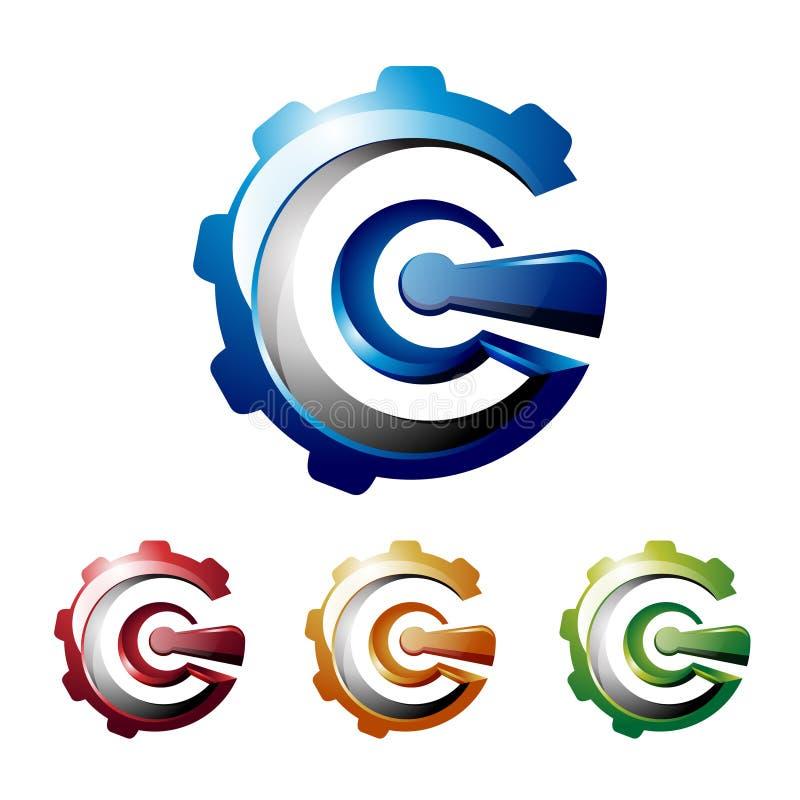 Gang-Maschinen-Logo der G-Buchstabe-Initialen-Zusammenfassungs-3D vektor abbildung