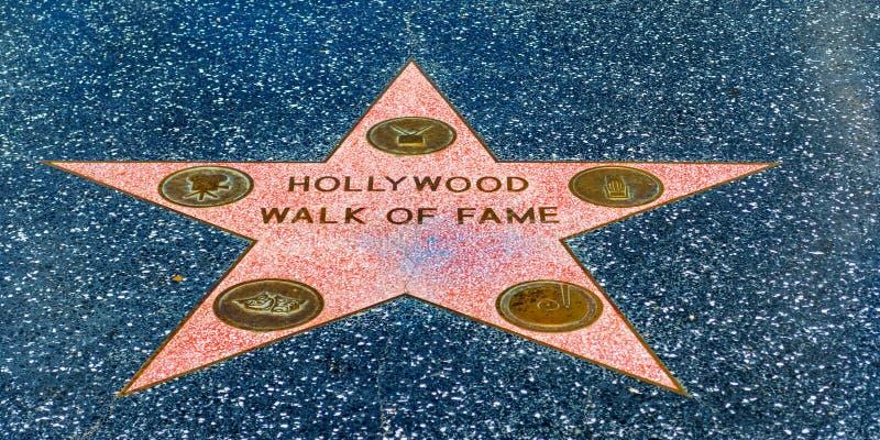 Gang van bekendheidsster in Hollywood-boulevard royalty-vrije stock afbeeldingen