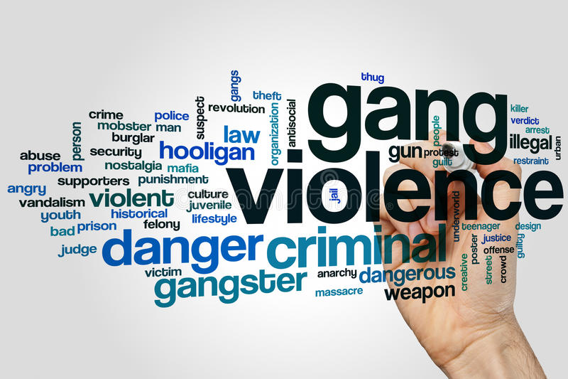 Gang violence word cloud. Concept on grey background vector illustration