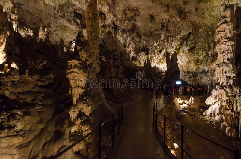 Gang voor toeristen in Postojna-hol, Slovenië, Europa royalty-vrije stock foto's