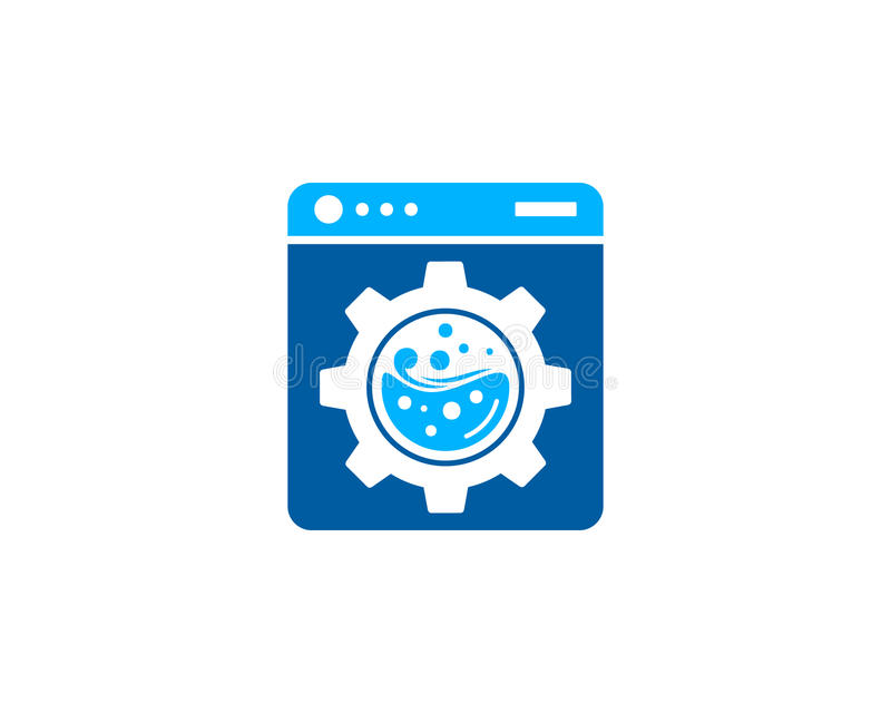 Gang-Werkzeug-Wäscherei-Ikone Logo Design Element stock abbildung