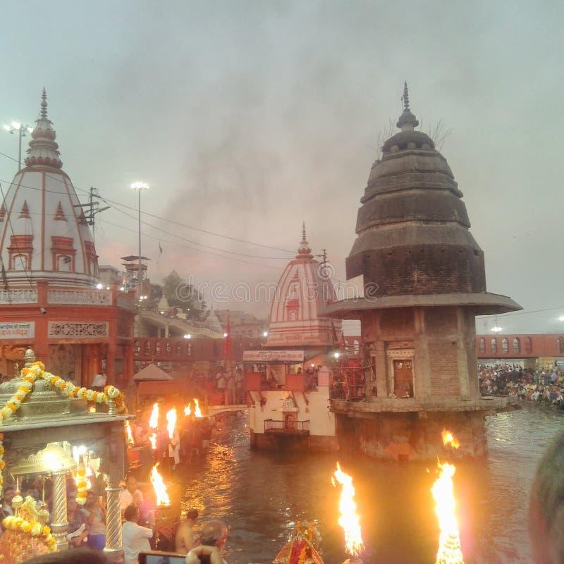 Ganga Aarti immagine stock