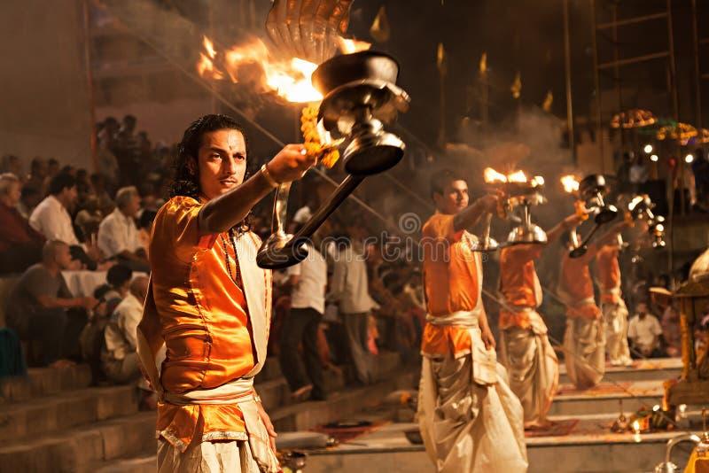 Ganga Aarti rytuał zdjęcie stock