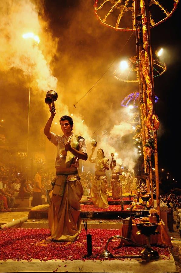 Ganga Aarti in Varanasi royalty-vrije stock afbeelding