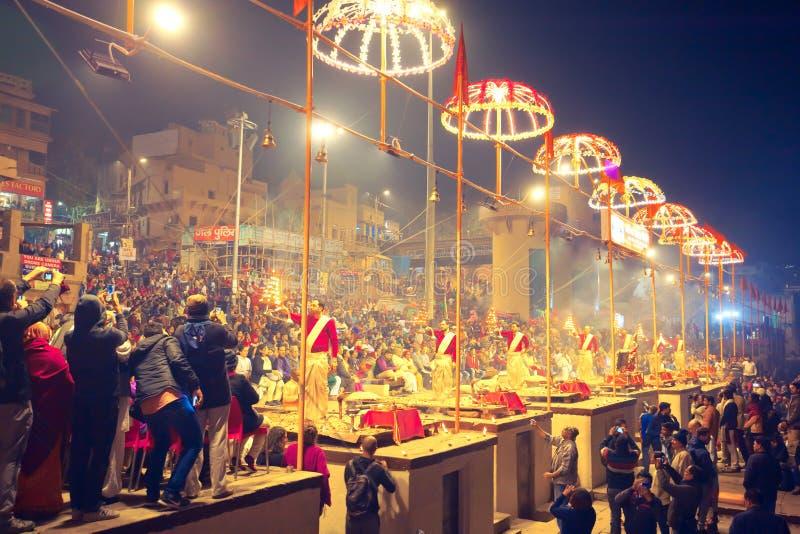 Ganga Aarti w Varanasi obraz royalty free