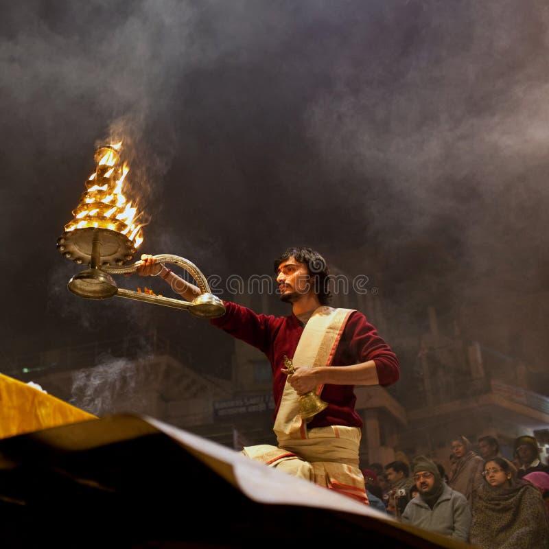 Ganga Aarti Zeremonie stockbilder