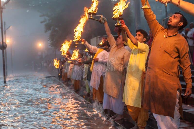 Ganga Arati royalty-vrije stock foto's