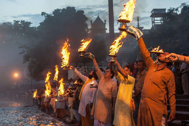 Ganga Arati lizenzfreie stockbilder