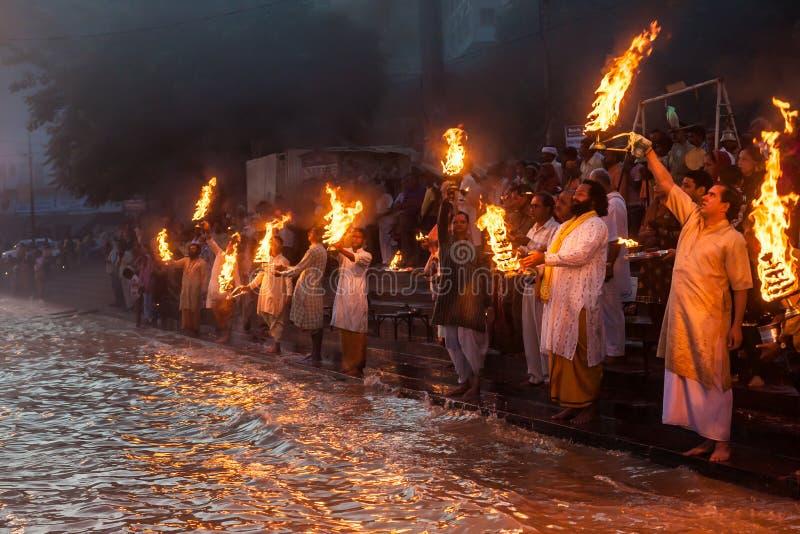 Ganga Arati immagini stock libere da diritti