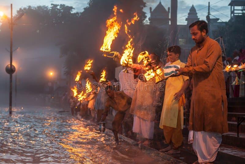 Ganga Arati stockbilder