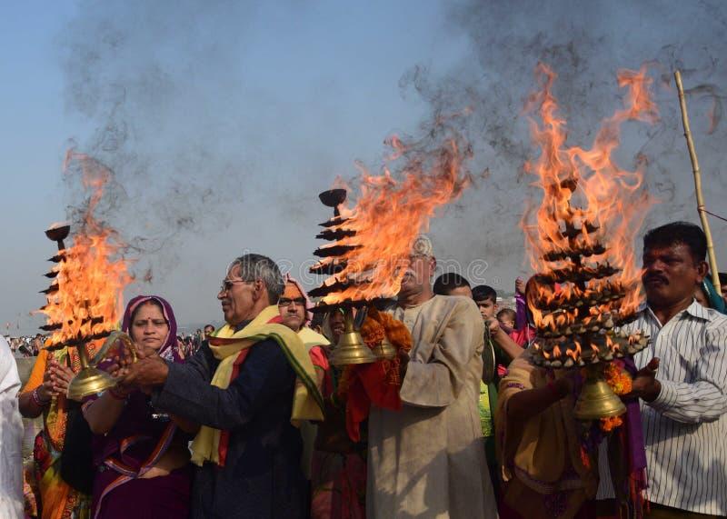 Ganga-dussehra Festivalfeier in Allahabad stockbild