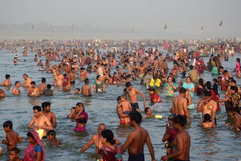 Ganga-dussehra Festivalfeier in Allahabad stockfotos