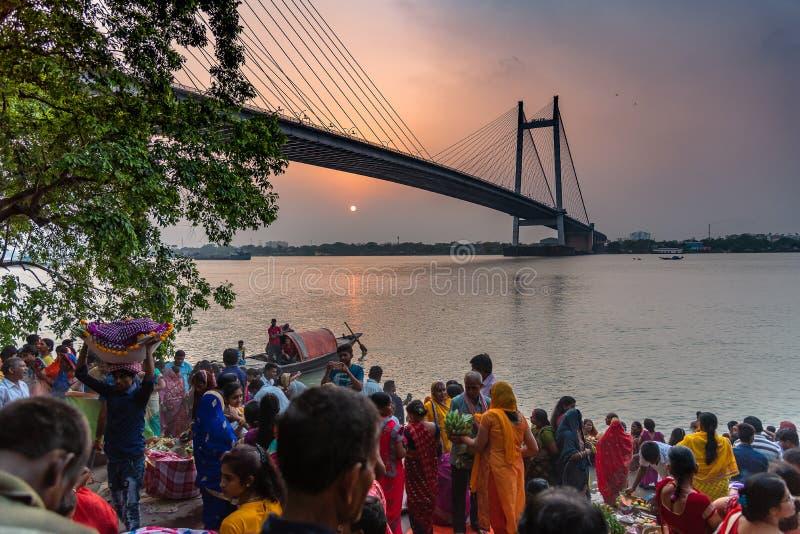 Ganga Puja или Chhathh Puja стоковые изображения rf