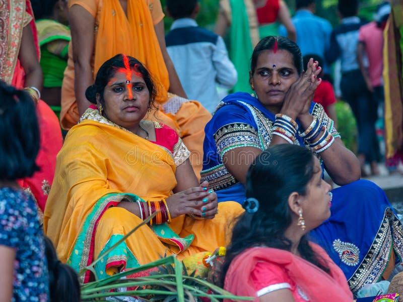 Ganga Puja ou Chhathh Puja imagens de stock