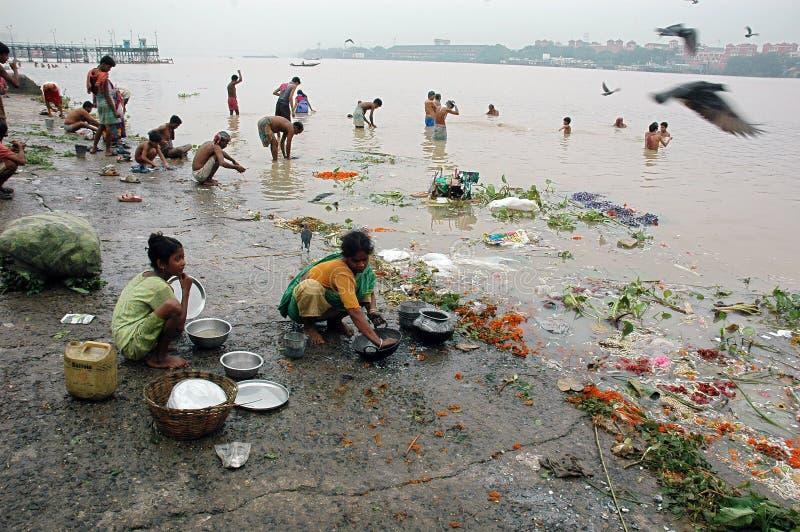 Ganga River Pollution In Kolkata. stock photo