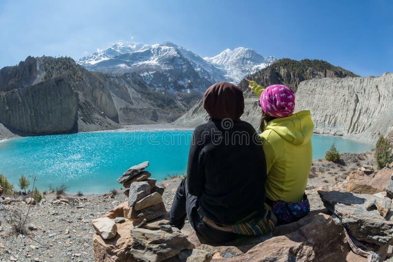 Gangapurna See und Gipfel, Manang, Annapurna-Stromkreis lizenzfreies stockfoto