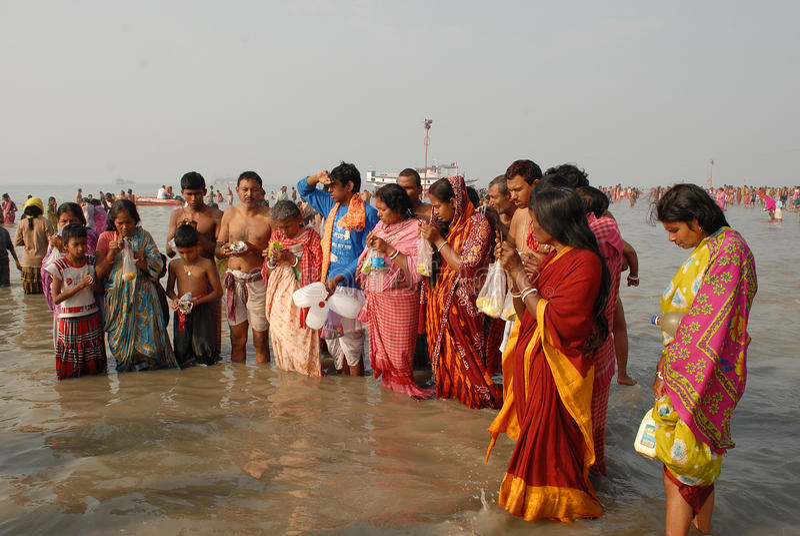 Gangasagar festival royaltyfri foto