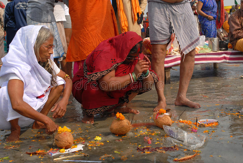 Gangasagar Festival. Devotees are performing their religious deeds at the fair ground of Ganga sagar.This festival is celebrated during mid January every year stock photography