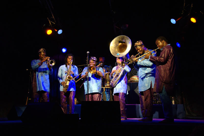Gangbe Brass Band. Concert of Gangbe Brass Band from Benin on JazzLent festival in 2010 in Maribor stock photography
